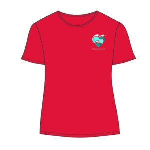 women's t-shirt fire red small logo