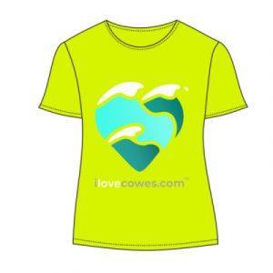 women's t-shirt electric yellow large logo